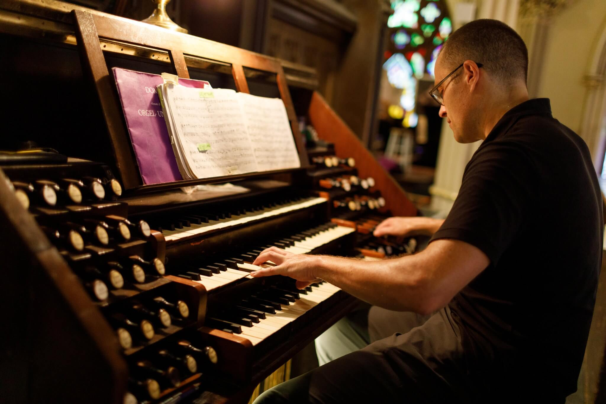 Jared Lamenzo at the Erben Organ. Photo: Stefano Ukmar for The New York Times