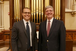 Kevin Birch and Jared Lamenzo in front of 1859 Hall & Labagh Chancel Organ